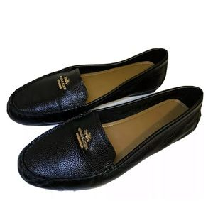 Coach black opal pebble grain leather loafers 8B